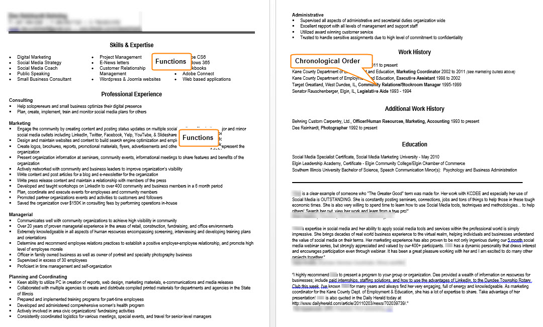 Chronological Resume Example JPEG