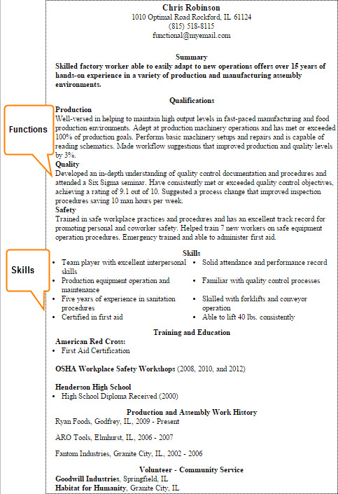 Functional Resume Example and Areas (JPEG)