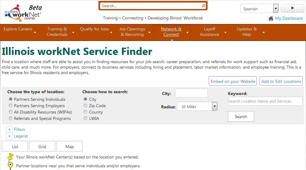 Services Locator Screen Shot