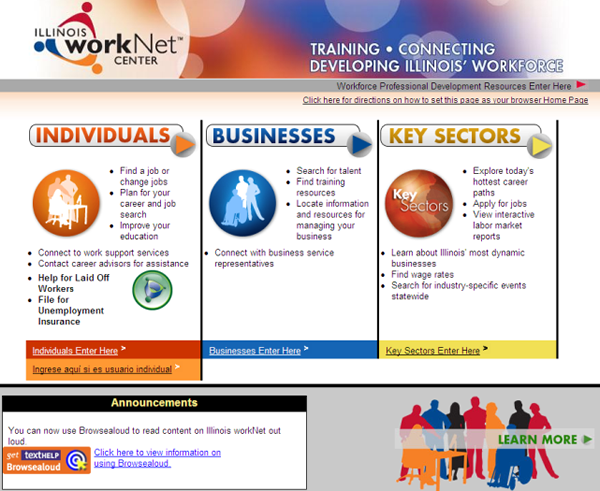 Illinois workNet Website 2008
